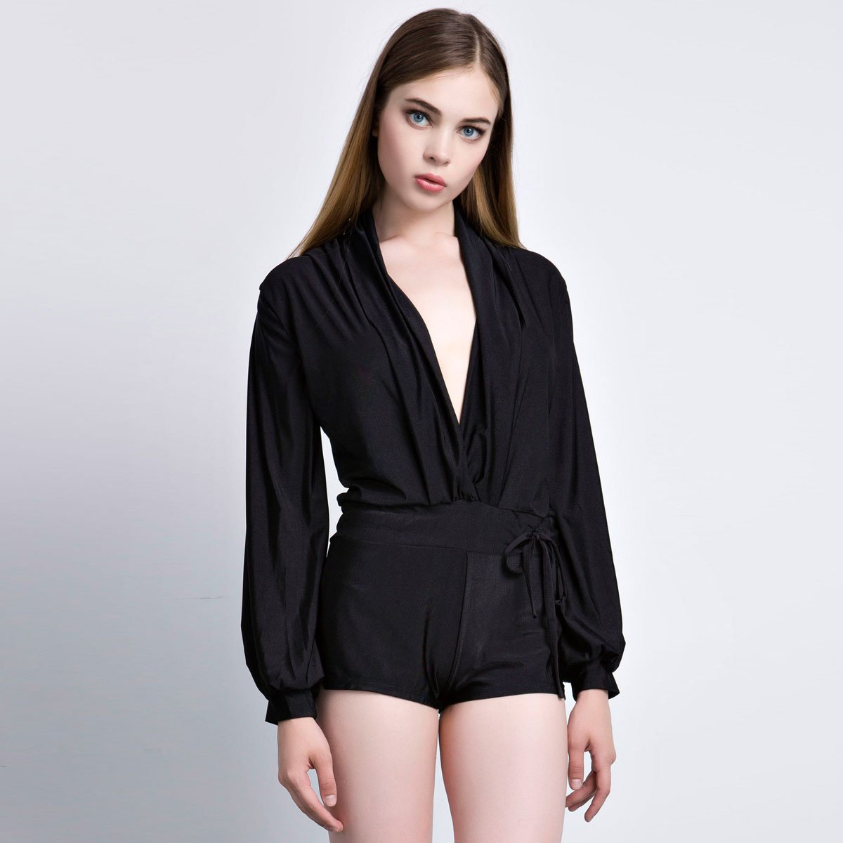 OASAP Long Sleeve Ruffle Sheen Black Mini Romper, black, XL, 40697