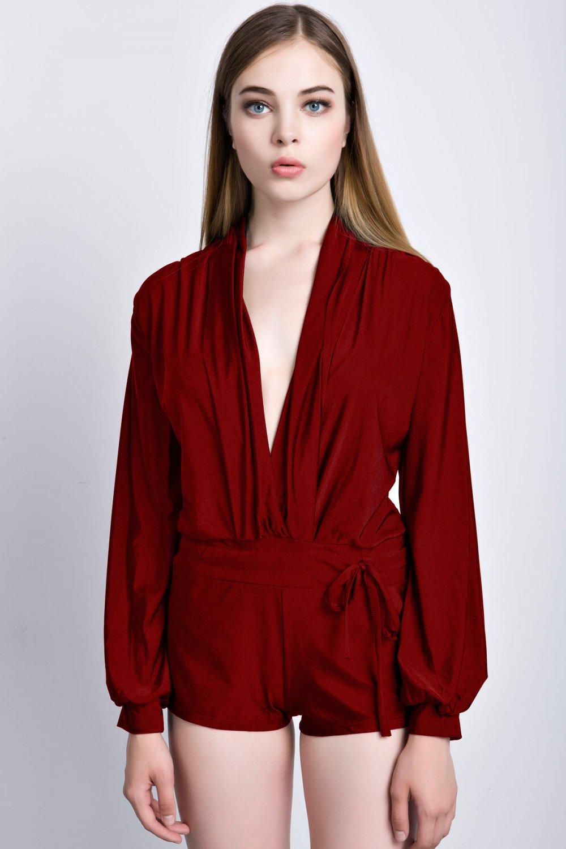 OASAP Long Sleeve Ruffle Sheen Mini Romper, burgundy, S, 40697