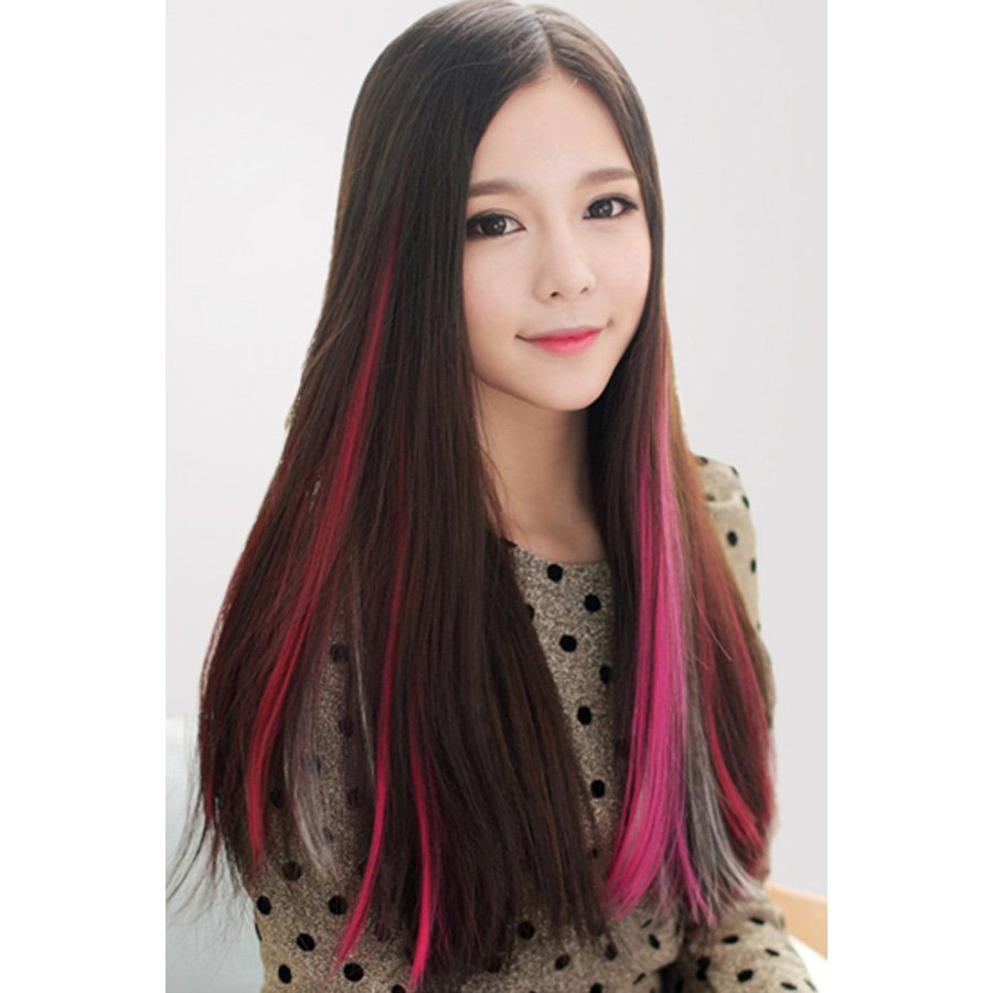Fashion Candy Color Hair Extension,OP37374,red,one size