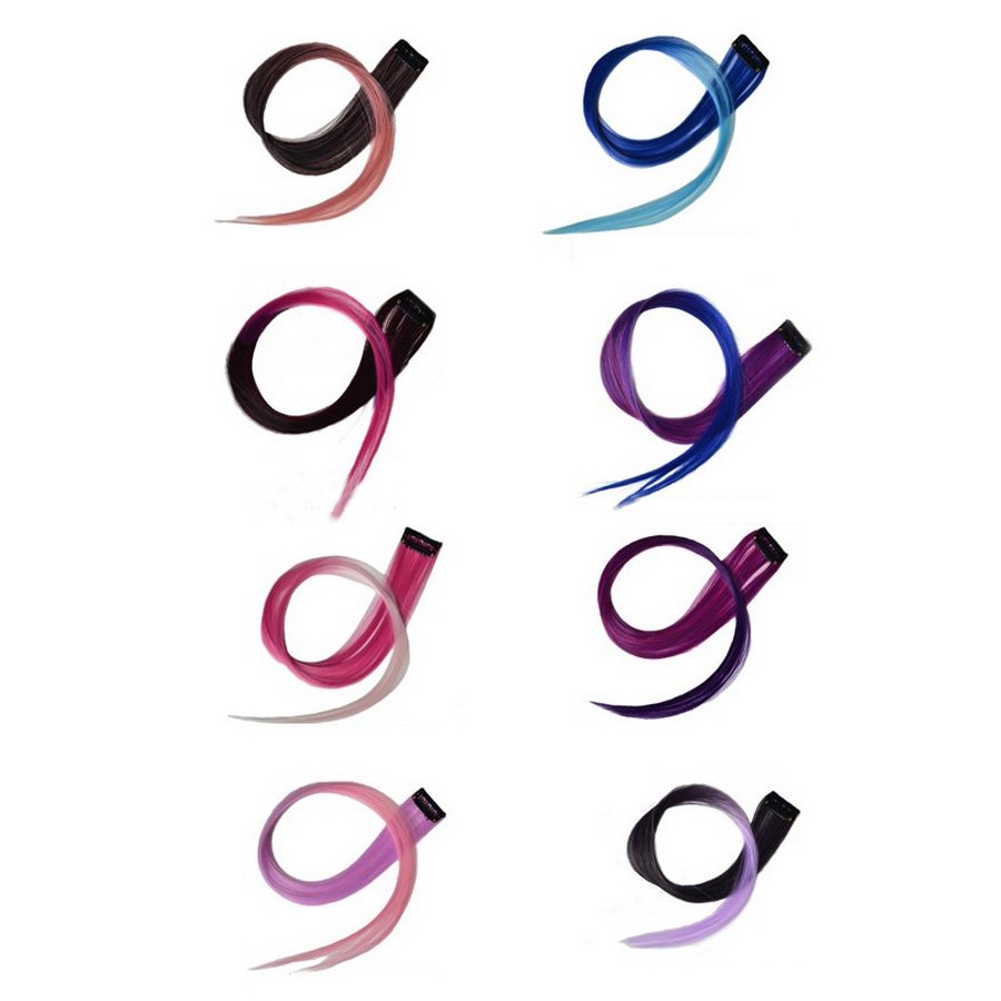 Eye-catching Gradual Color Hair Extension,OP37375,purple&fuchsia,one size