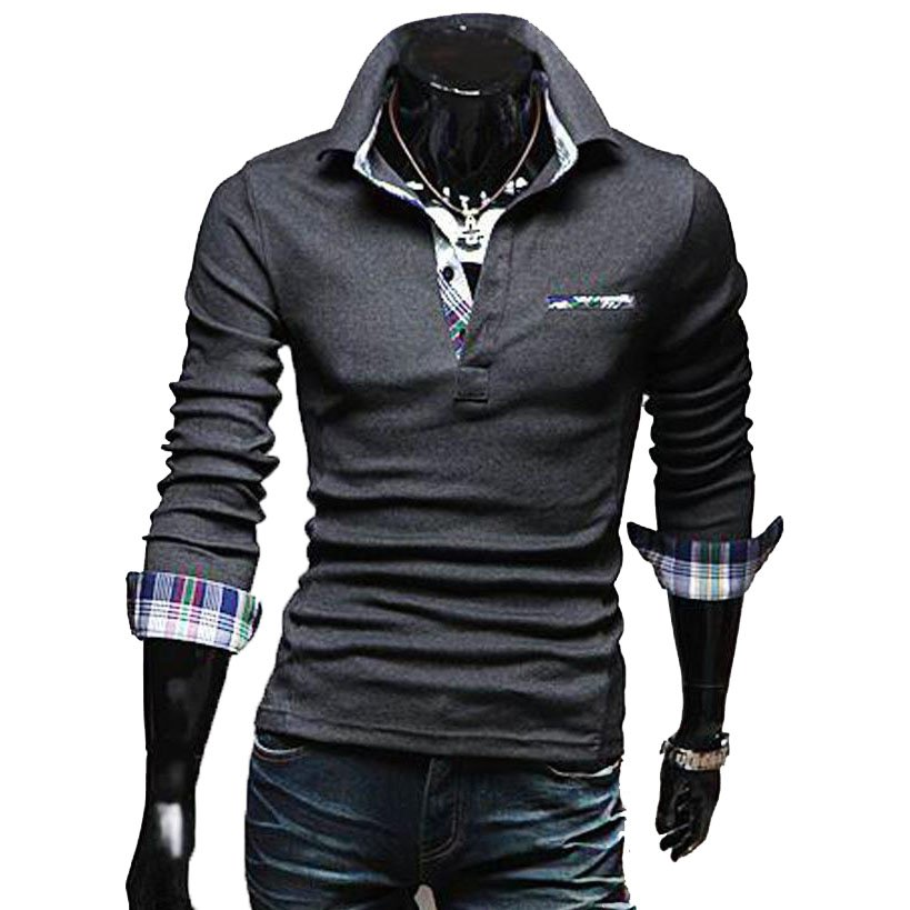 OASAP Tartan-Trim Long Sleeves Man Polo Shirt Men Casual Short-Sleeves T Shirt,OP44072,deep grey,L