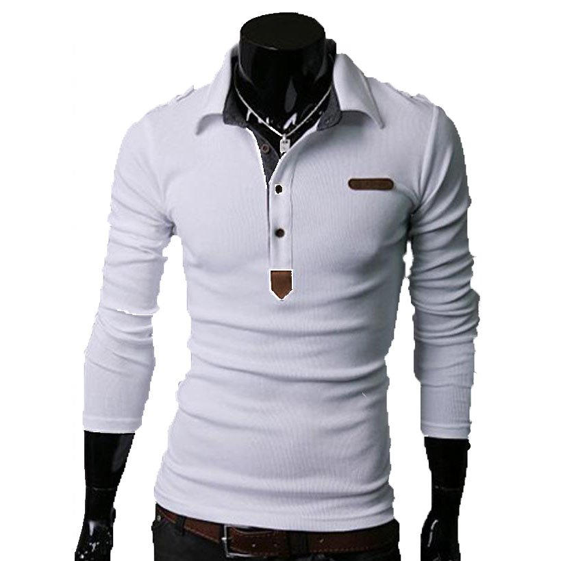 Essential Solid Man Polo Tee Men Long Sleeves Shirt Top,OP44318,white,L