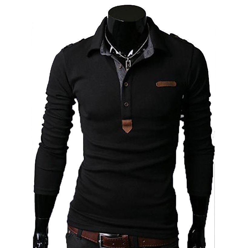 Essential Solid Man Polo Tee Men Long Sleeves Shirt Top,OP44318,black,M