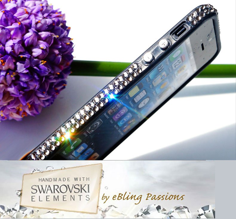 for Apple iPhone 5 5S Black TPU BUMPER w/Genuine SWAROVSKI ELEMENTS Bling Crystal (Black Diamond)