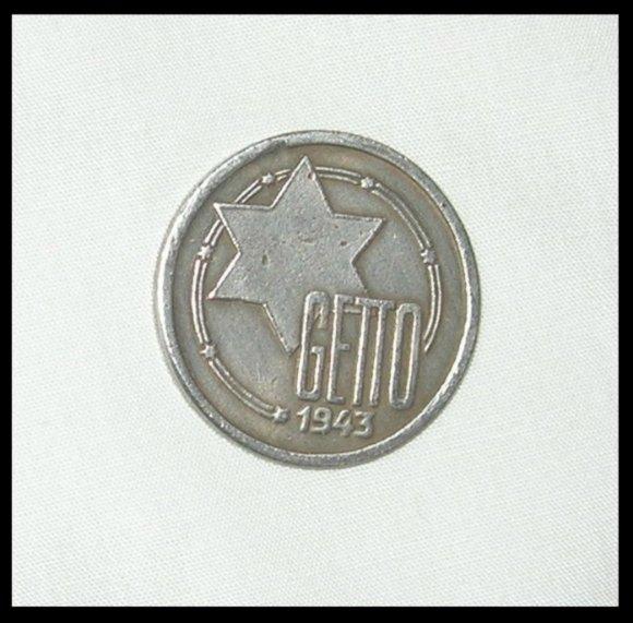 1943 GHETTO WW2 GERMANY POLAND GETTO 10 MARK COIN RARE