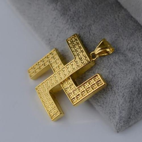 Gold Plated Swastika Pendant Necklace Lucky Charm