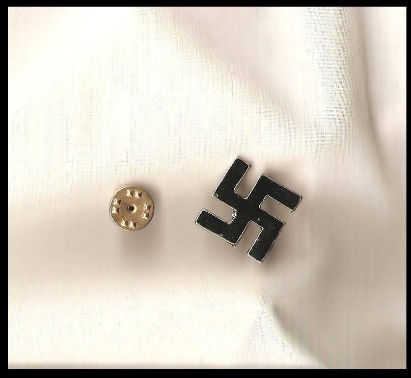 WW2 NSDAP GERMANY METAL ENAMEL SWASTIKA LAPEL PIN BADGE