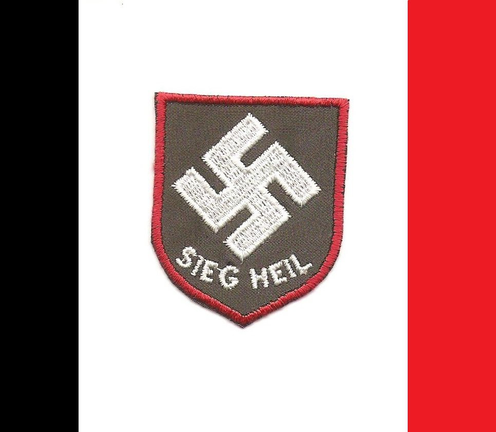 "WW2 Nazi Germany ""SIEG HEIL"" Saw On Swastika Patch"