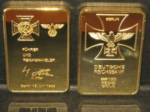 WW2 Germany Iron Cross Commemorative ReichsBank Souvenir Bar Coin w/ Hitler Signature