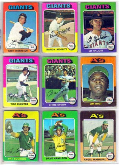 1975 TOPPS JIM HOLT #607 ATHLETICS