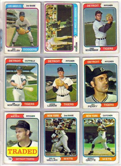 1974 TOPPS JIM PERRY #316 TIGERS