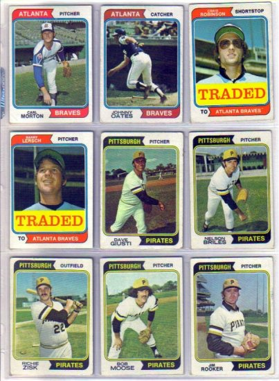 1974 TOPPS JOHNNY OATES #183 BRAVES