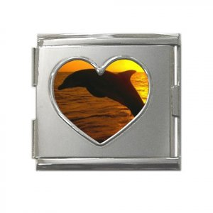 18mm Stainless Steel Italian Charm (Square) with Heart Cutout