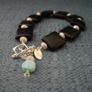 Squares onyx and silver bracelet