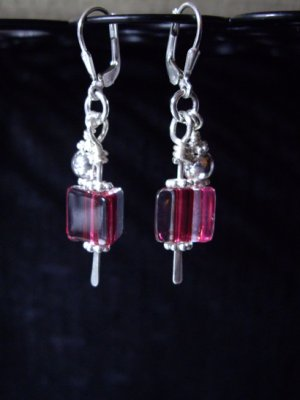 David Christensen Pink furnace glass paddle earrings