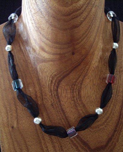 David Christensen furnace glass & ribbon necklace