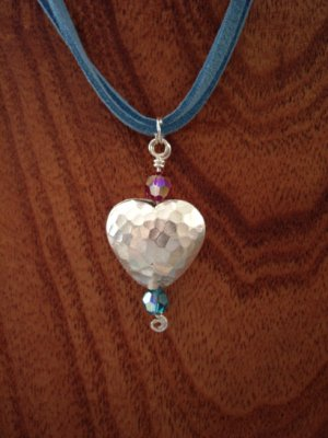 Hammered silver heart necklace