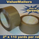 "QUALITY TAN Packing Tape ~ 2"" x 110 Yd Rolls ~6 Pk ~"