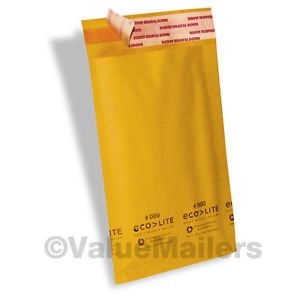 200 4x8 #000 Ecolite Brand Made In (USA) Kraft Bubble Mailers Padded Envelopes
