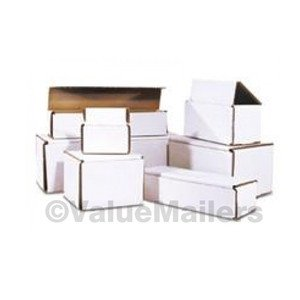 50 - 6 x 2 1/2 x 2 3/8 White Corrugated Shipping Mailer Packing Box Boxes