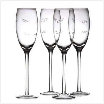 Set of 4 Etched Champagne Flutes - SS37904