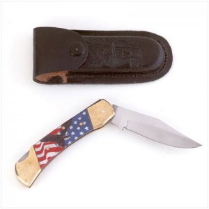 "4"" Knife With American Flag and Eagle - SS25281"