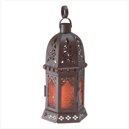 "10"" Amber Glass Moroccan-Style Lantern - SS33145"