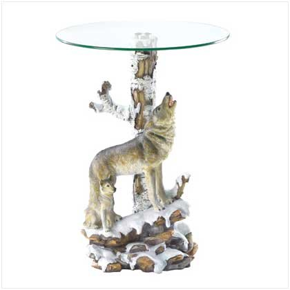 FREE SHIPPING - Wolf Table With Glass Tabletop - SS37918