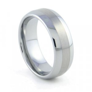 Accenture - 8mm Two-Tone Rounded Tungsten Carbide Band