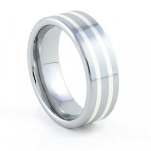 Trinity - 8mm Sterling Silver Inlaid Tungsten Carbide Band