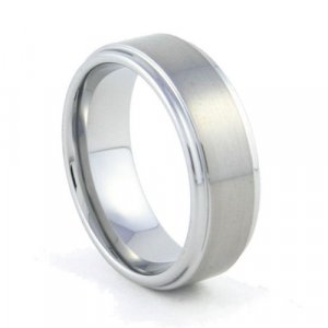 Orion - 8mm Flat Tungsten Carbide Band with Recessed Polished Edges