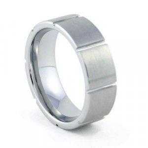 Citadel - 8mm Brushed & Grooved Tungsten Carbide Band