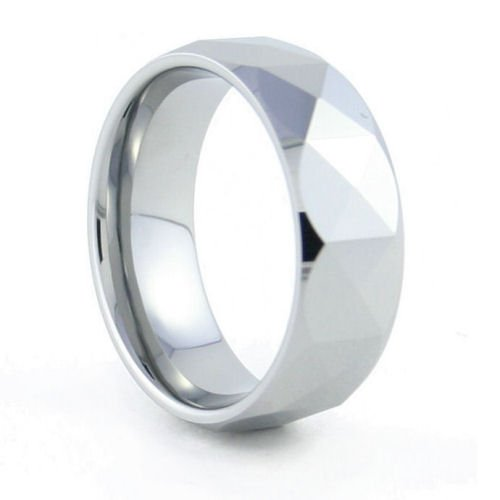 Calypso - 8mm Faceted Tungsten Carbide Band