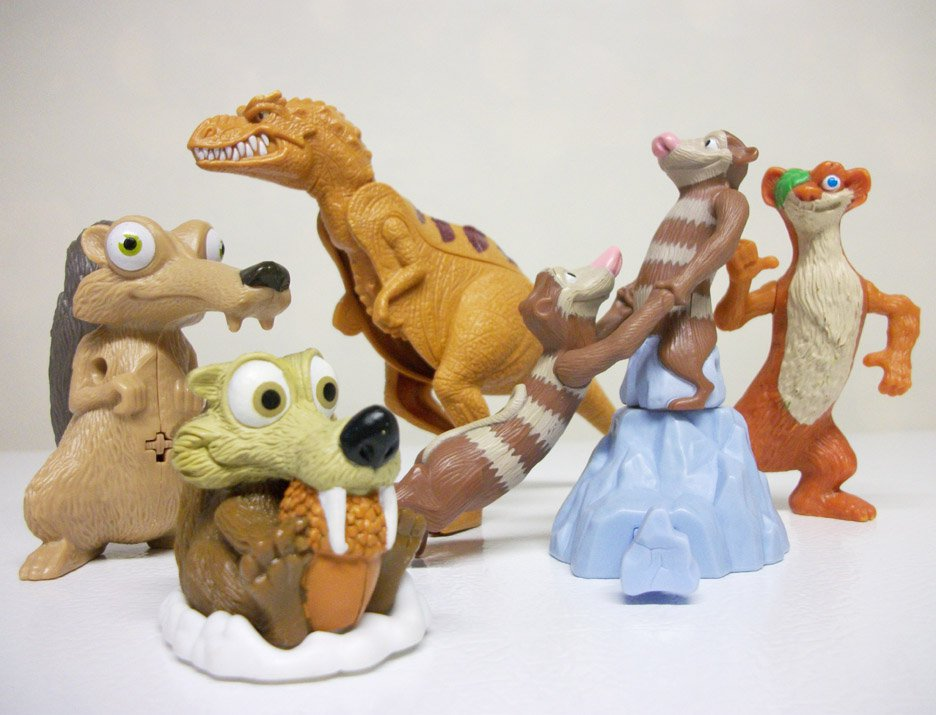 Ice Age Lot of 6 kids meal movie toys - McDonalds Burger King Kelloggs