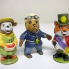 Richard Scarry Puzzletown Lot of 3 figures - Mayor Fox, Mrs Goat, Sgt Murphy - vintage 1976