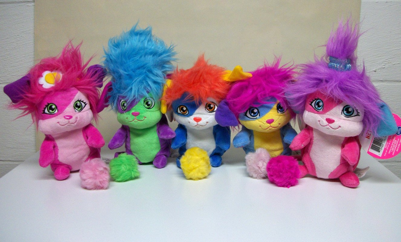 """Popples Lot of 5 Pop Open Plush 8"""" new w/ tags set izzy sunny lulu bubbles yikes Spin Master 2015"""