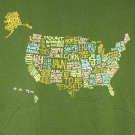 WHAT I KNOW ABOUT THE USA t-shirt Threadless Men's Medium olive green pre-owned 2012