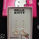 Hello Kitty Sterling Silver Rhinestone Heart Dangling Earrings