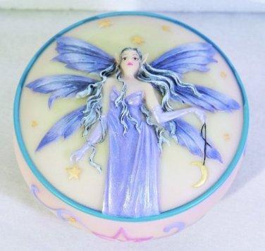 Celestiana Fairy  Scene Round Jewelry/Trinket Box Figurine