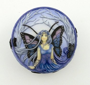 Blue Diadem Fairy Scene Round Jewelry/Trinket Box Figurine
