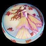 Autumn Gold Fairy Scene Round Jewelry/Trinket Box Figurine