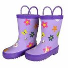 Foxfire for Kids Flower Rain Boots (size 2)