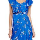 Emma & Michele Blue Floral Ruffle Front Sleeveless Dress (Size 10)
