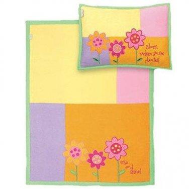 Stephen Joseph Fleece Blanket/Pillow Set, Flower