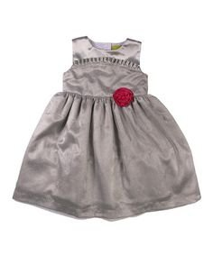 Silver with Pink Rose Dress (size 12 mos.)