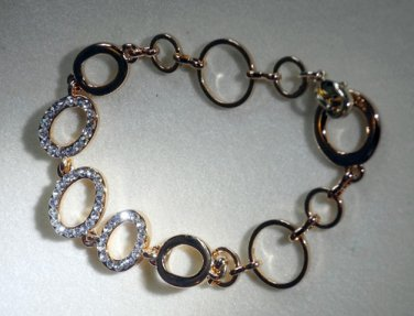 Fake Diamonds Imitation Gold Plated Chain Bracelet Classic Style