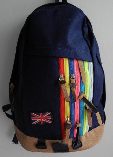 Rainbow zips Backpack in Navy UK Flag Nation School Bag Travel Bag bookbag