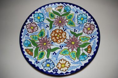 Mexican Talavera Plate Dish Flowers Floral Blue Wall Hanging