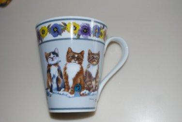 Valerie Pfeiffer Cat Kitten Pansy Flower Porcelain Coffee Tea Mug Cup