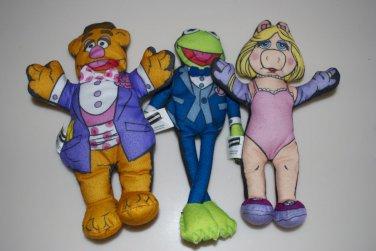 The Muppets by Blockbuster Kermit, Fozzie Bear & Miss Piggy Felt Dolls